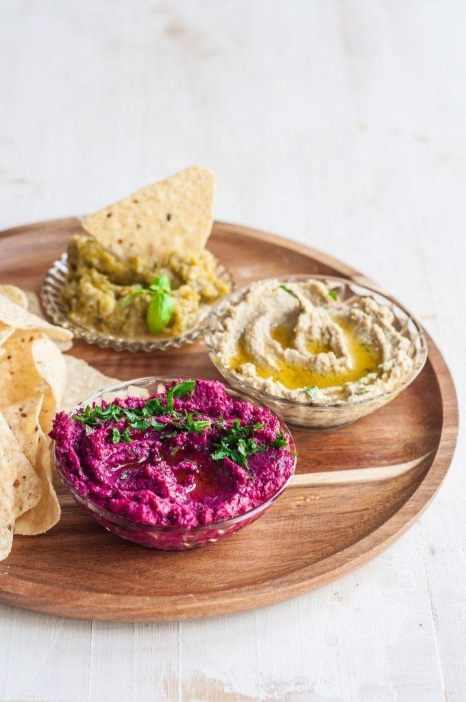 Snacks de Verão :: Hummus de Beterraba & Babaganoush & Pasta de Courgette