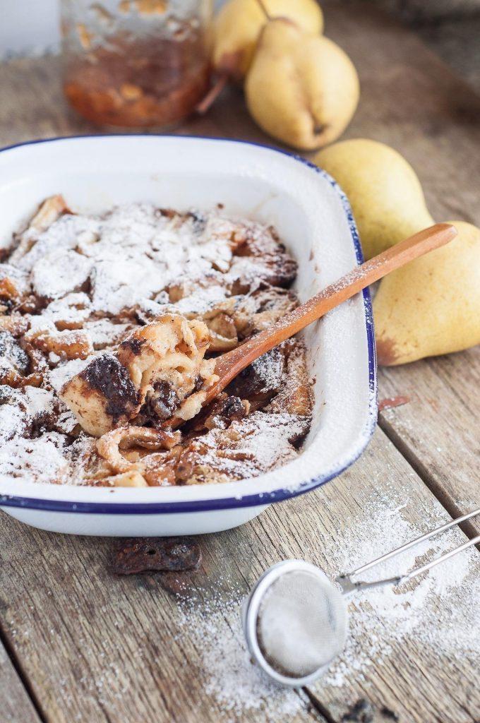 Pudim de Croissant de Chocolate e Pêra