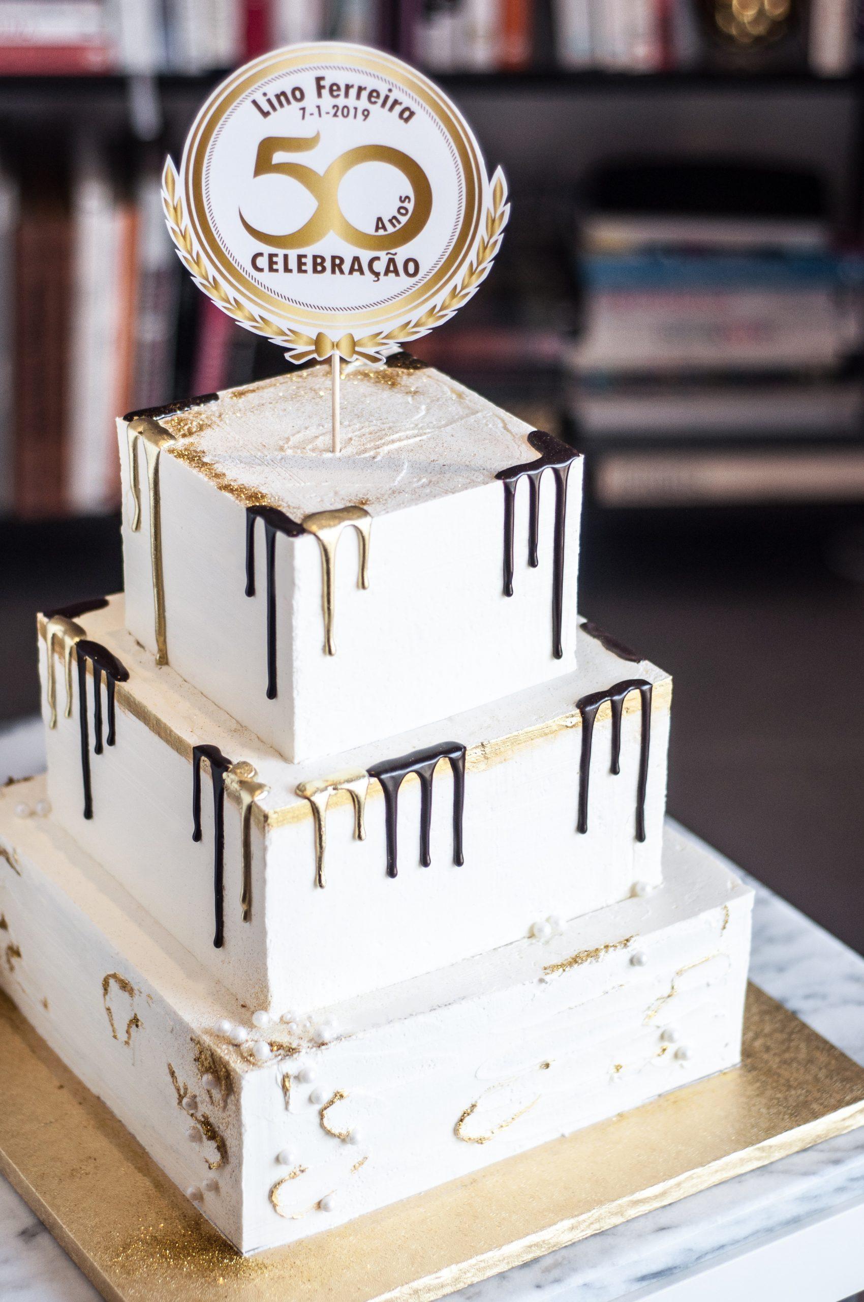 Bolo 50 Anos Dourado Be Nice Make A Cake