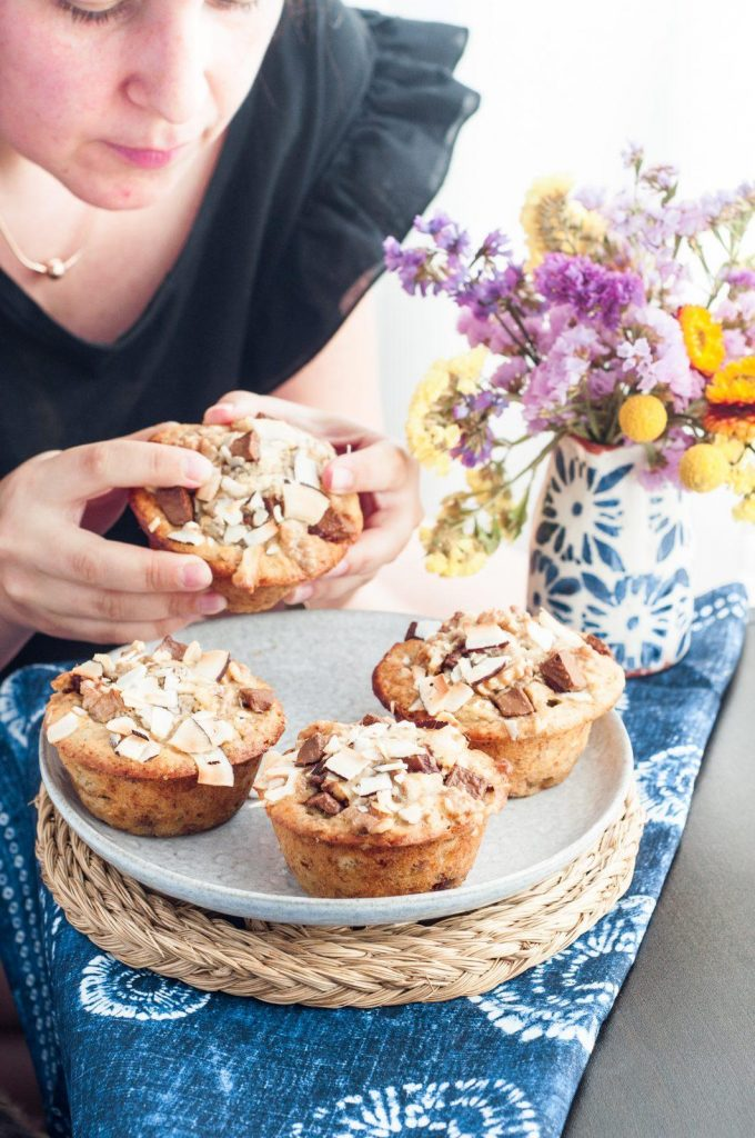 Muffins de Banana, Chocolate e Côco